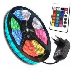 Fita LED Colorida RGB com Controle e Fonte para Decoração