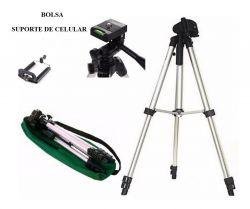 Tripé Universal Câmera 1,20mm Completo+bolsa+suporte Celular