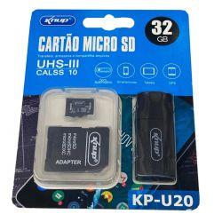 Cartão Memória 32 gb knup com adaptador usb